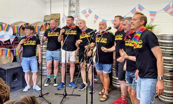 The Barbies sing in the Barrel Store for Waltham Forest Pride